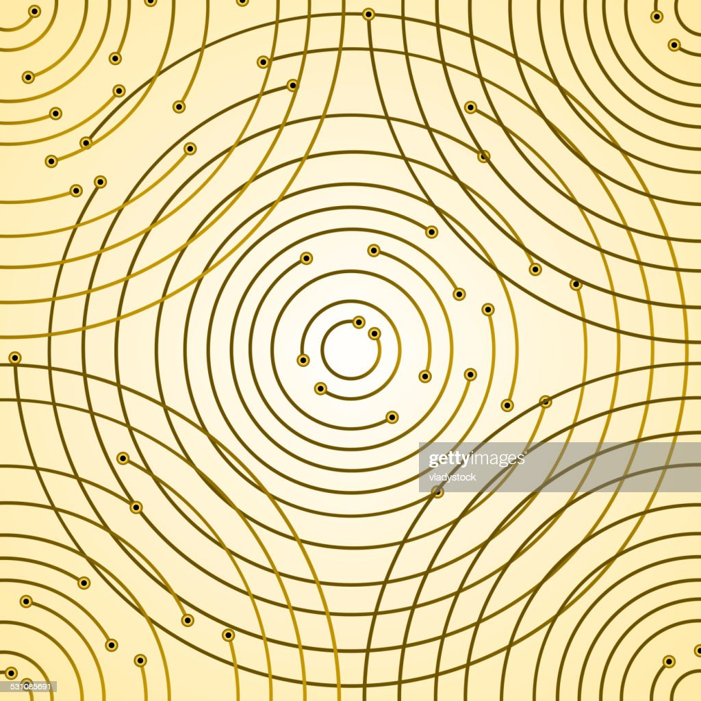 printed circuit board with unusual circular paths abstract