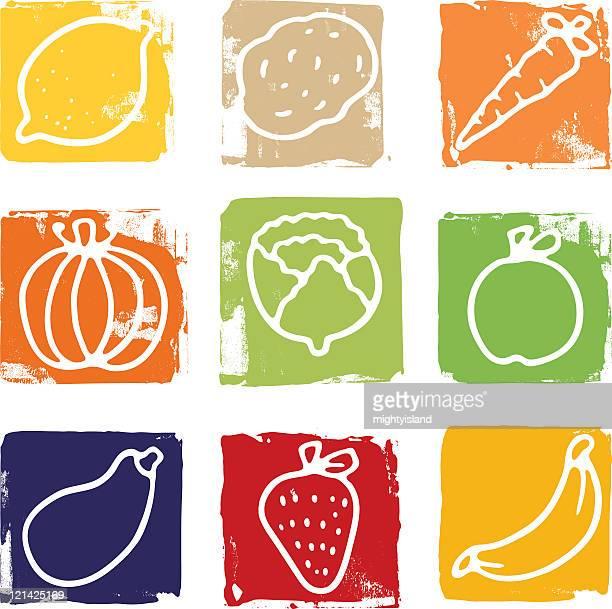 Printed fruit and vegetable blocks
