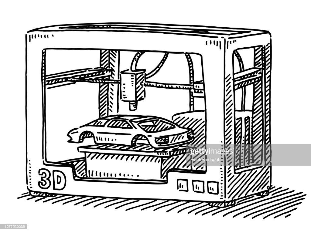 3D-Drucker Auto Modell Zeichnung : Vektorgrafik