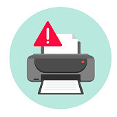 Printer Error. Vector illustration concept on white background