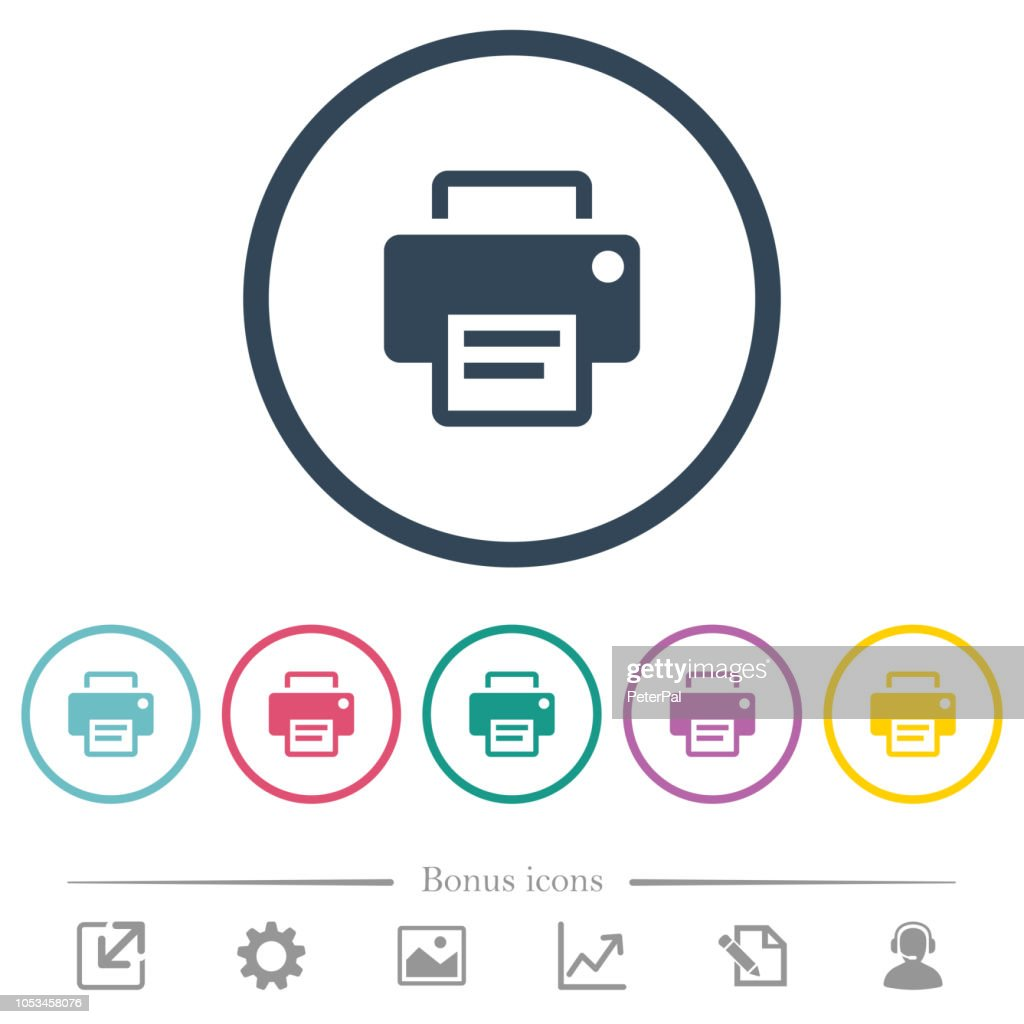 Printer flat color icons in round outlines