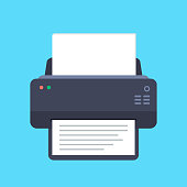 Printer flat icon with long shadow. Top view. Vector illustration.