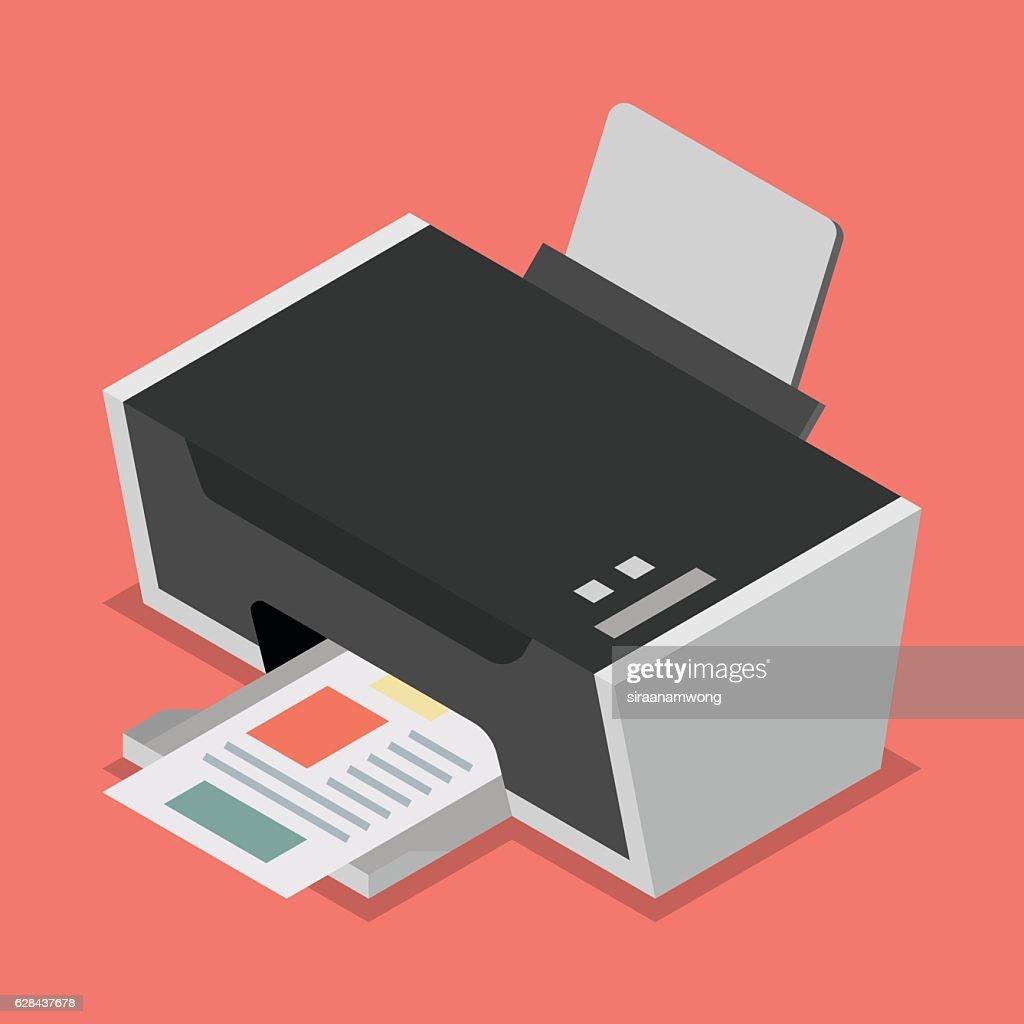 Printer flat style isometric