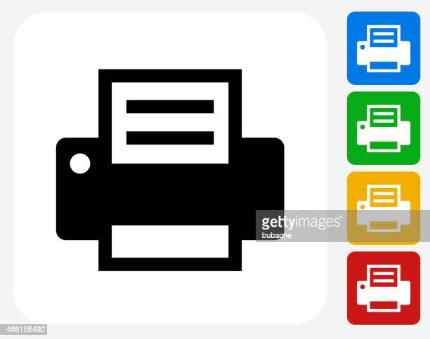 printer icon flat graphic design - printout stock illustrations