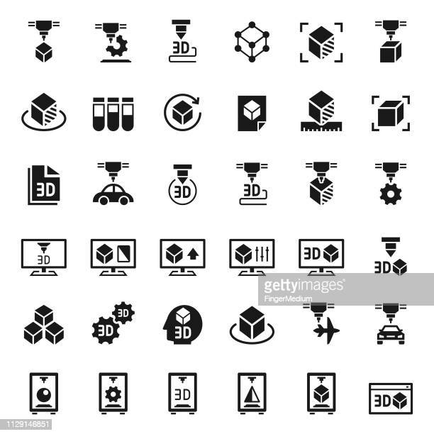 3d printer icon set - 3d printing stock illustrations