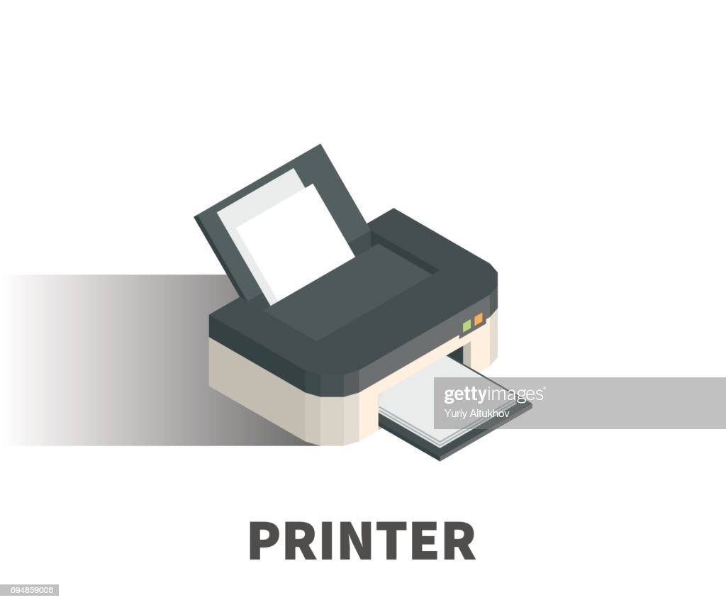 Printer icon, vector symbol in isometric 3D style isolated on white background.