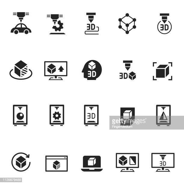 3d printer icons - 3d printing stock illustrations