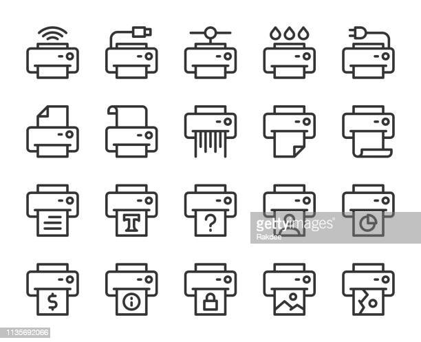 printer - line icons - printout stock illustrations