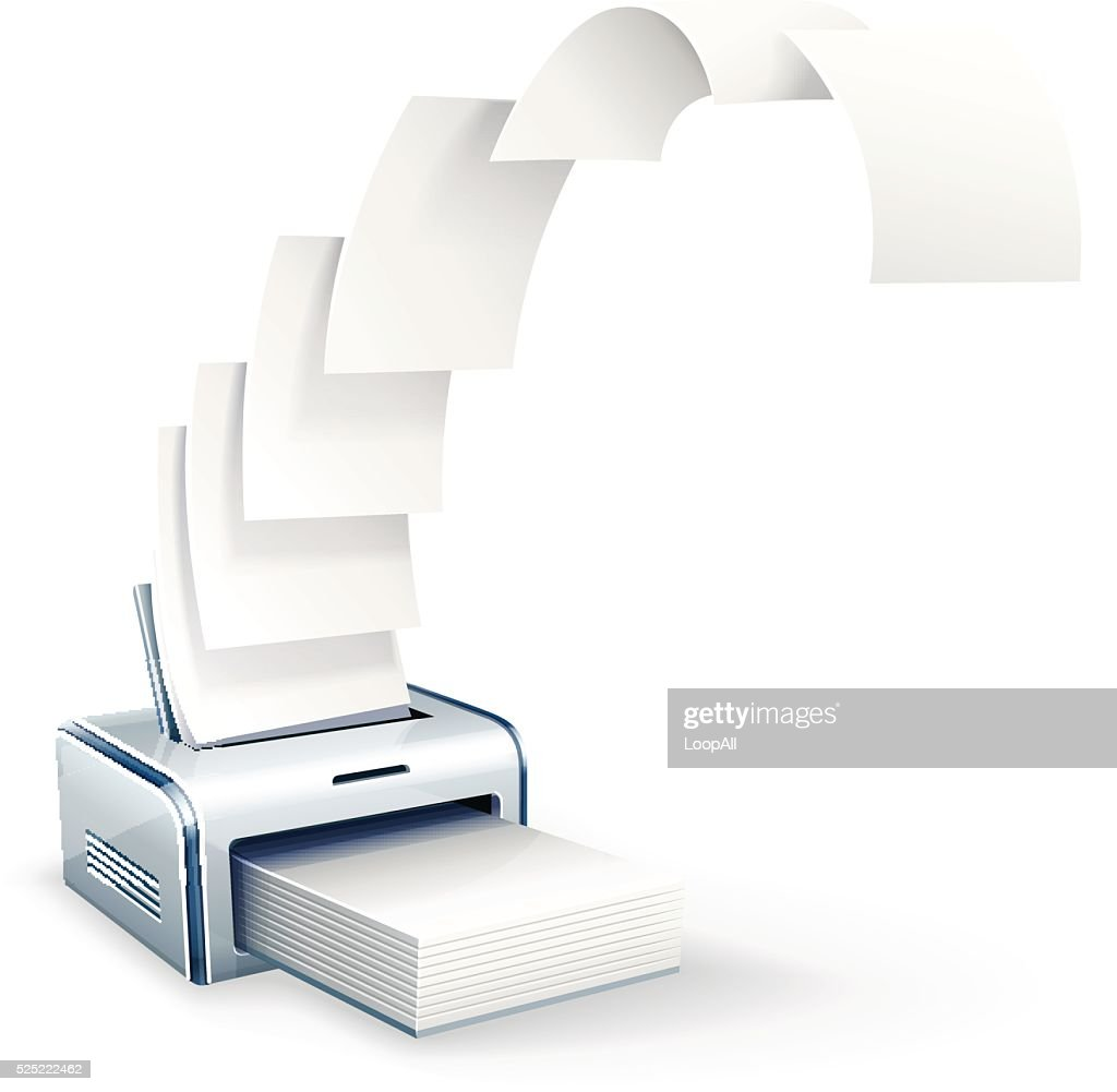 Printer printing copies to white paper vector icon eps10 illustration