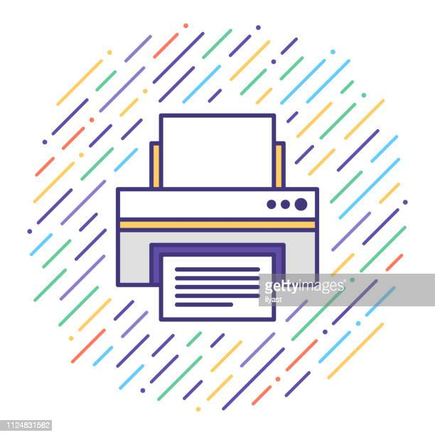 printer repair & maintenance flat line icon illustration - printout stock illustrations