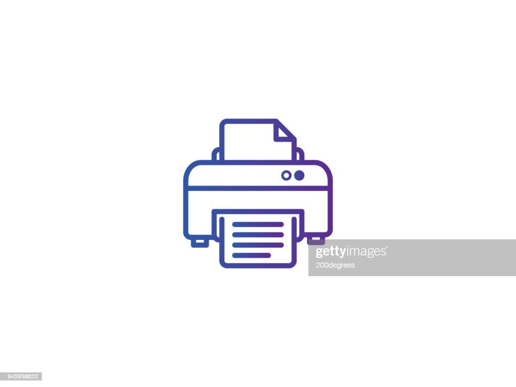 printer symbol icon. pixel perfect electric print outline line style template vector illustration
