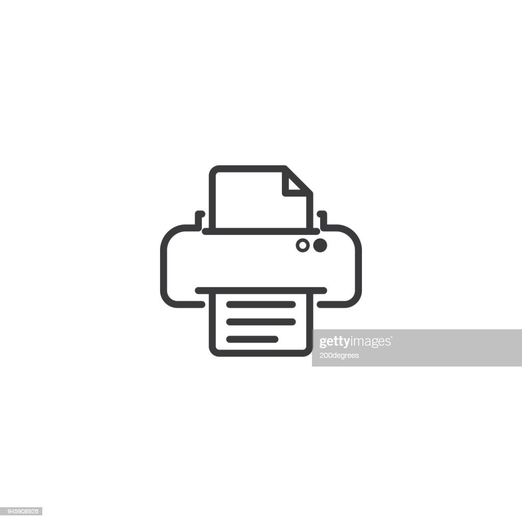 printer symbol icon. pixel perfect outline line style template.