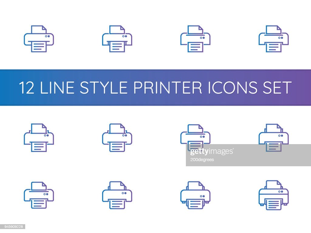printer symbol icons set. pixel perfect outline line style template.