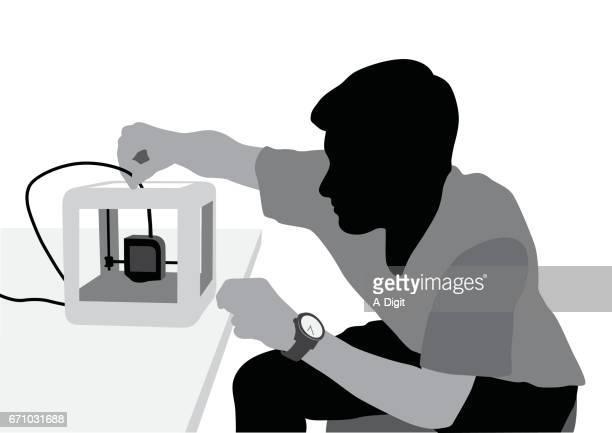 3 d drucker - erfindung stock-grafiken, -clipart, -cartoons und -symbole
