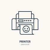Printer with printed paper flat line icon. Office printing device sign. Thin linear logo for printery, equipment store