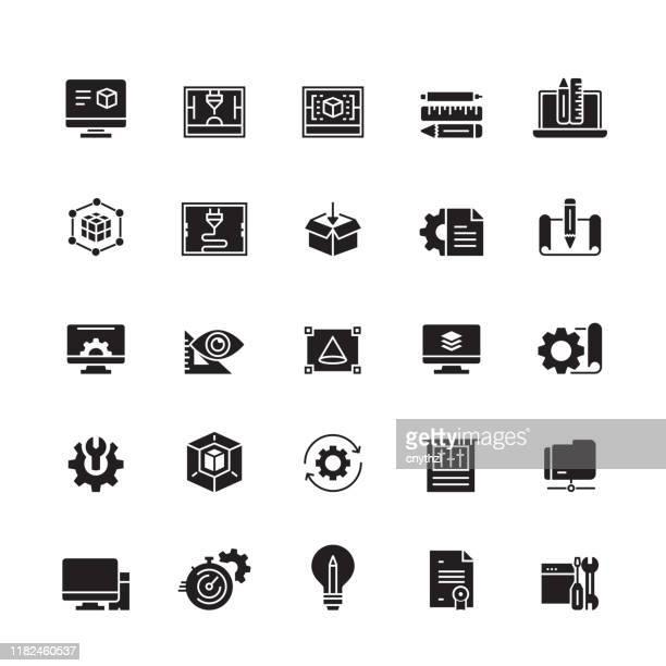 ilustrações, clipart, desenhos animados e ícones de impressão 3d e ícones relacionados modelando do vetor - realidade virtual