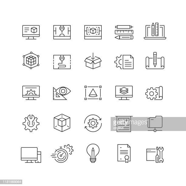 illustrazioni stock, clip art, cartoni animati e icone di tendenza di 3d printing and modeling related vector line icons - mercanzia