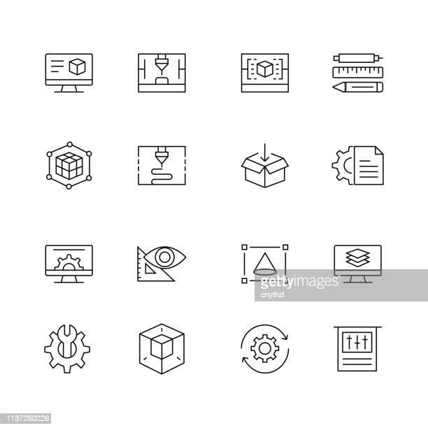 3d-druck und modellierung-set von dünn-linie-vektor-icons - kommerzielle herstellung stock-grafiken, -clipart, -cartoons und -symbole