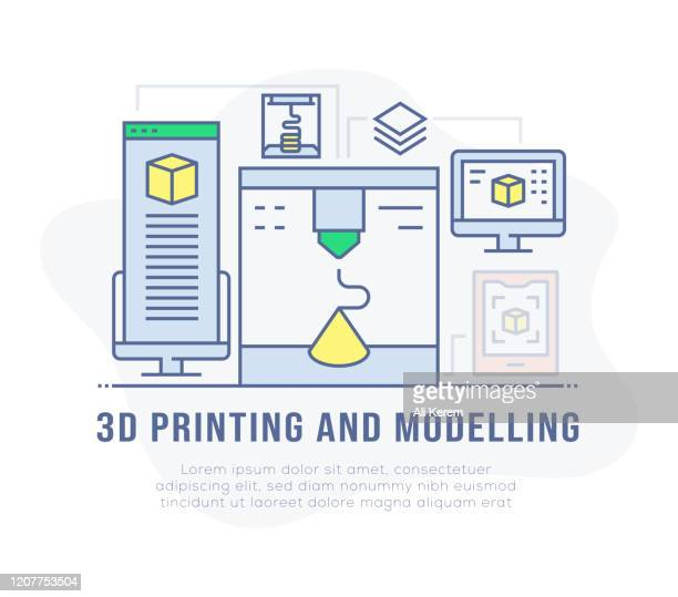 3d printing and modelling banner - pop up book stock illustrations