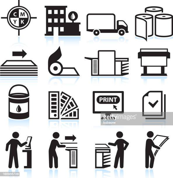 printing and publishing industry black & white vector icon set - publisher stock illustrations