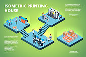 Printing house building. Industrial print production office interior inkjet offset publishing machines copier printer vector isometric