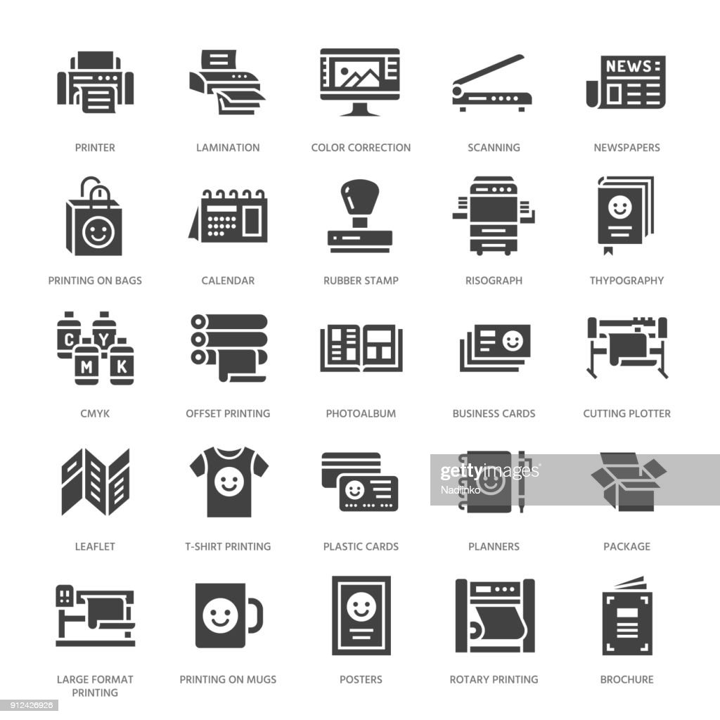 Printing house flat glyph icons. Print shop equipment - printer, scanner, offset machine, plotter, brochure, rubber stamp. Silhouette signs for polygraphy office, typography