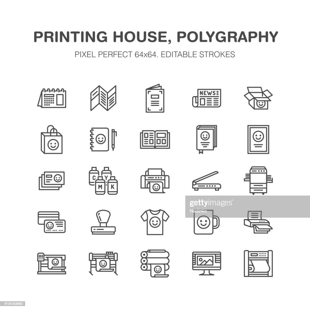 Printing house flat line icons. Print shop equipment - printer, scanner, offset machine, plotter, brochure, rubber stamp. Thin linear signs for polygraphy office, typography. Pixel perfect 64x64
