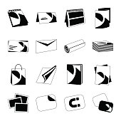 Printing house web monochrome black icons set