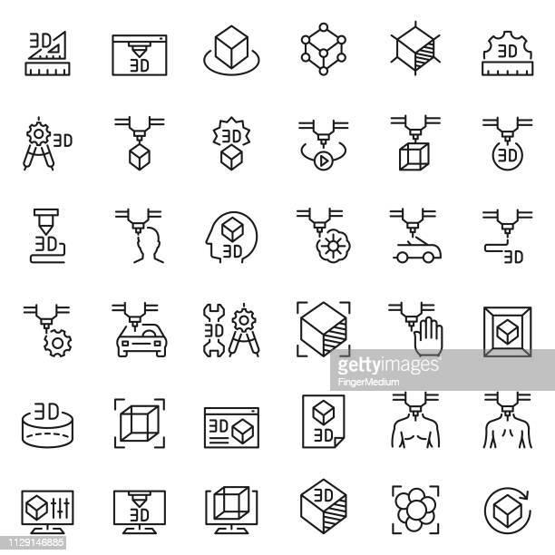 illustrations, cliparts, dessins animés et icônes de jeu d'icônes d'impression 3d - prothèse