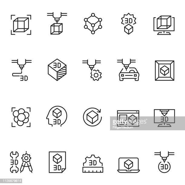 3d printing icons - 3d printing stock illustrations