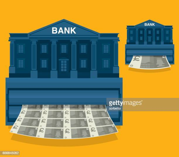 printing money - british currency - monetary policy stock illustrations