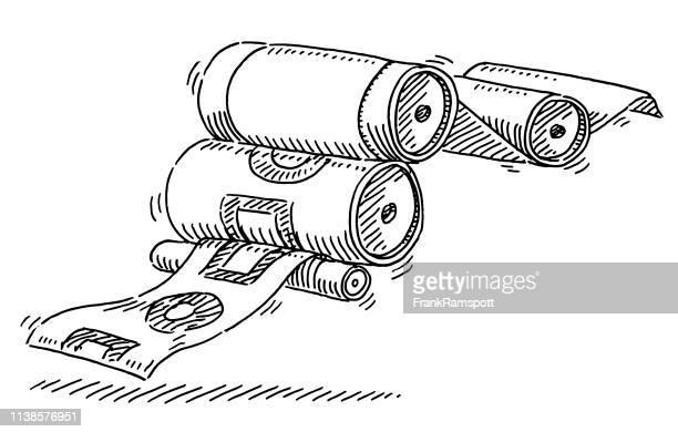 printing press paper symbol drawing - printing press stock illustrations