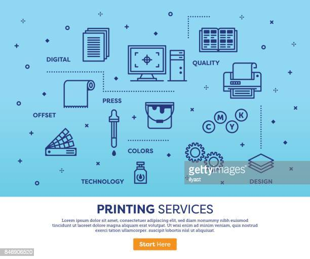printing services concept - printout stock illustrations