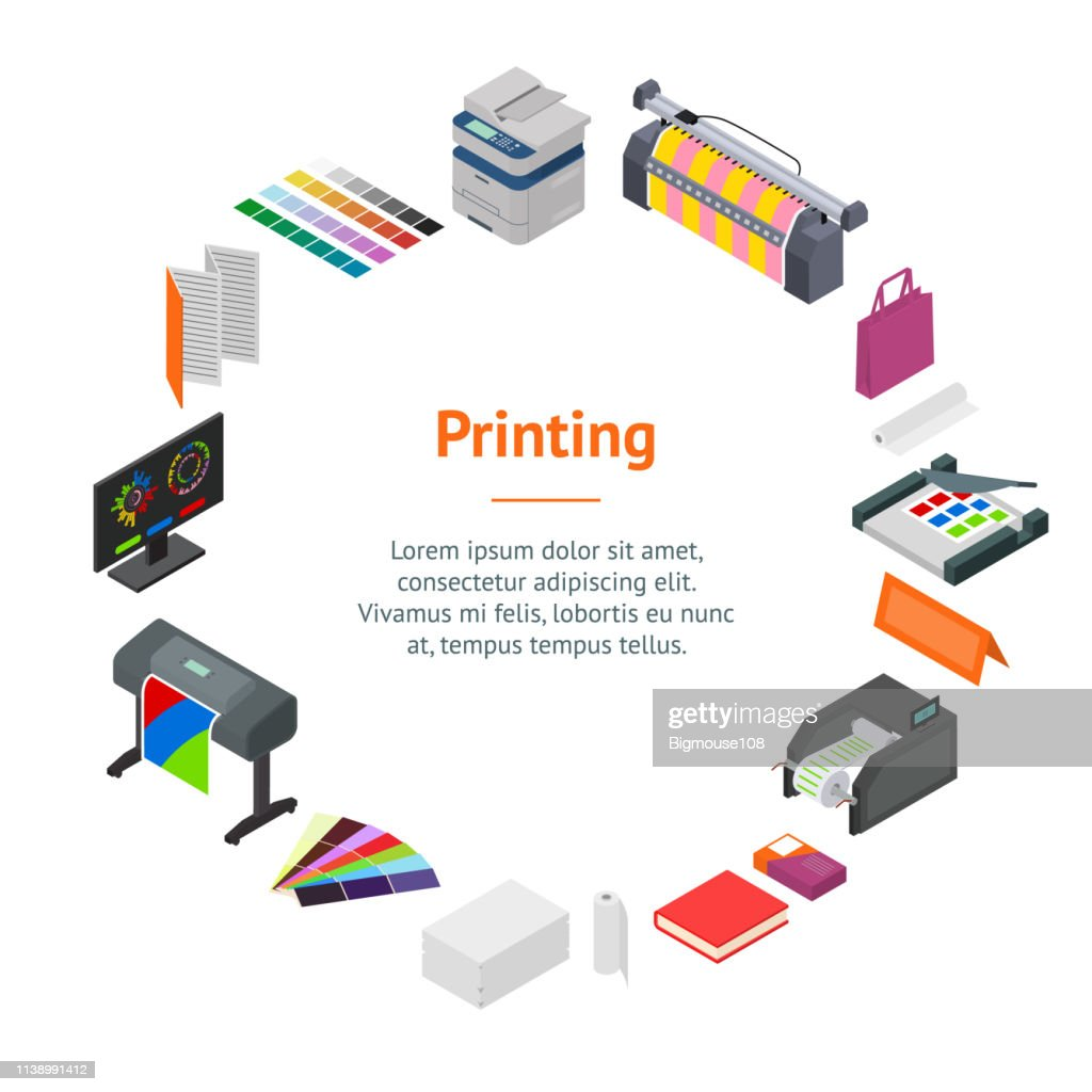 Printing Signs 3d Banner Card Circle Isometric View. Vector