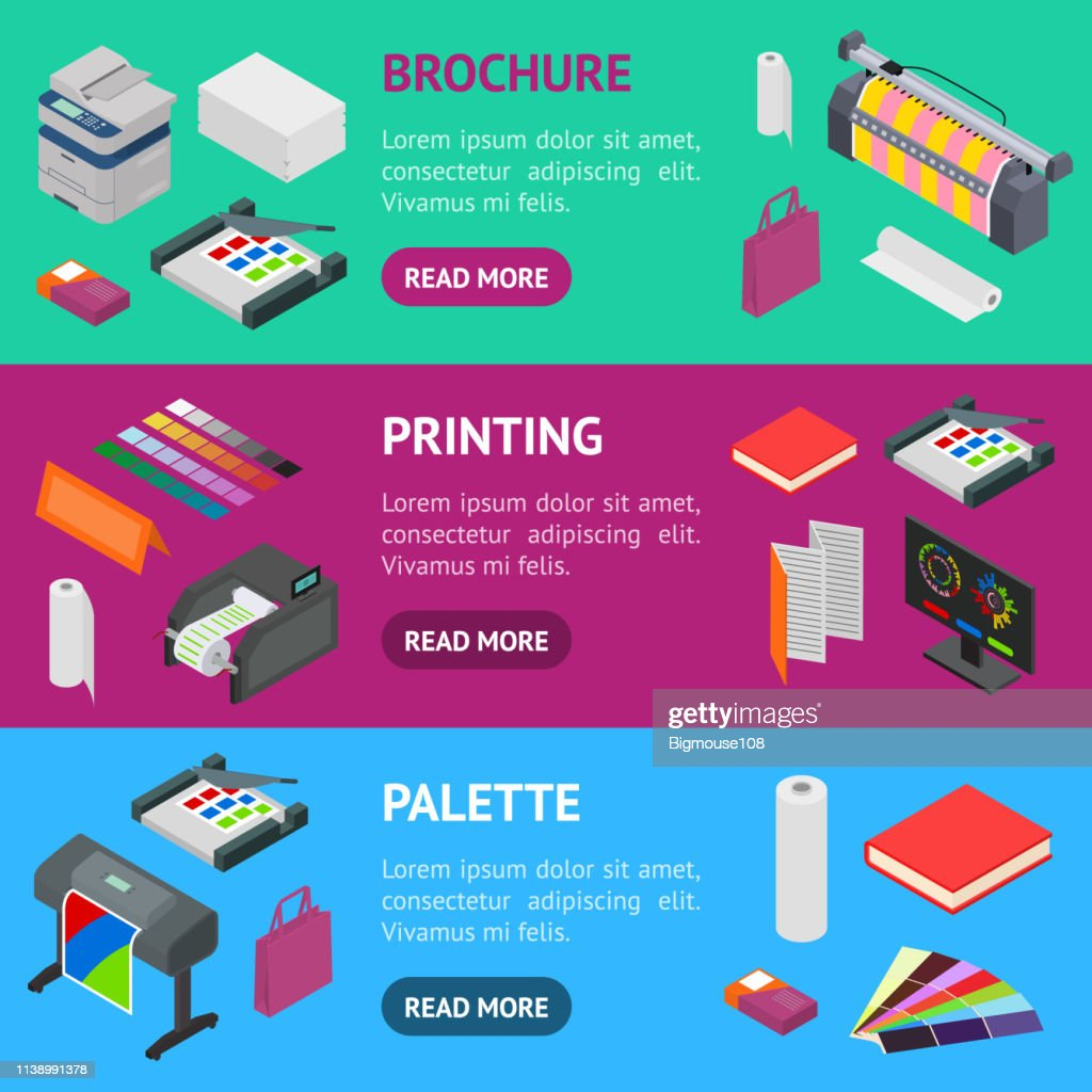 Printing Signs 3d Banner Horizontal Set Isometric View. Vector