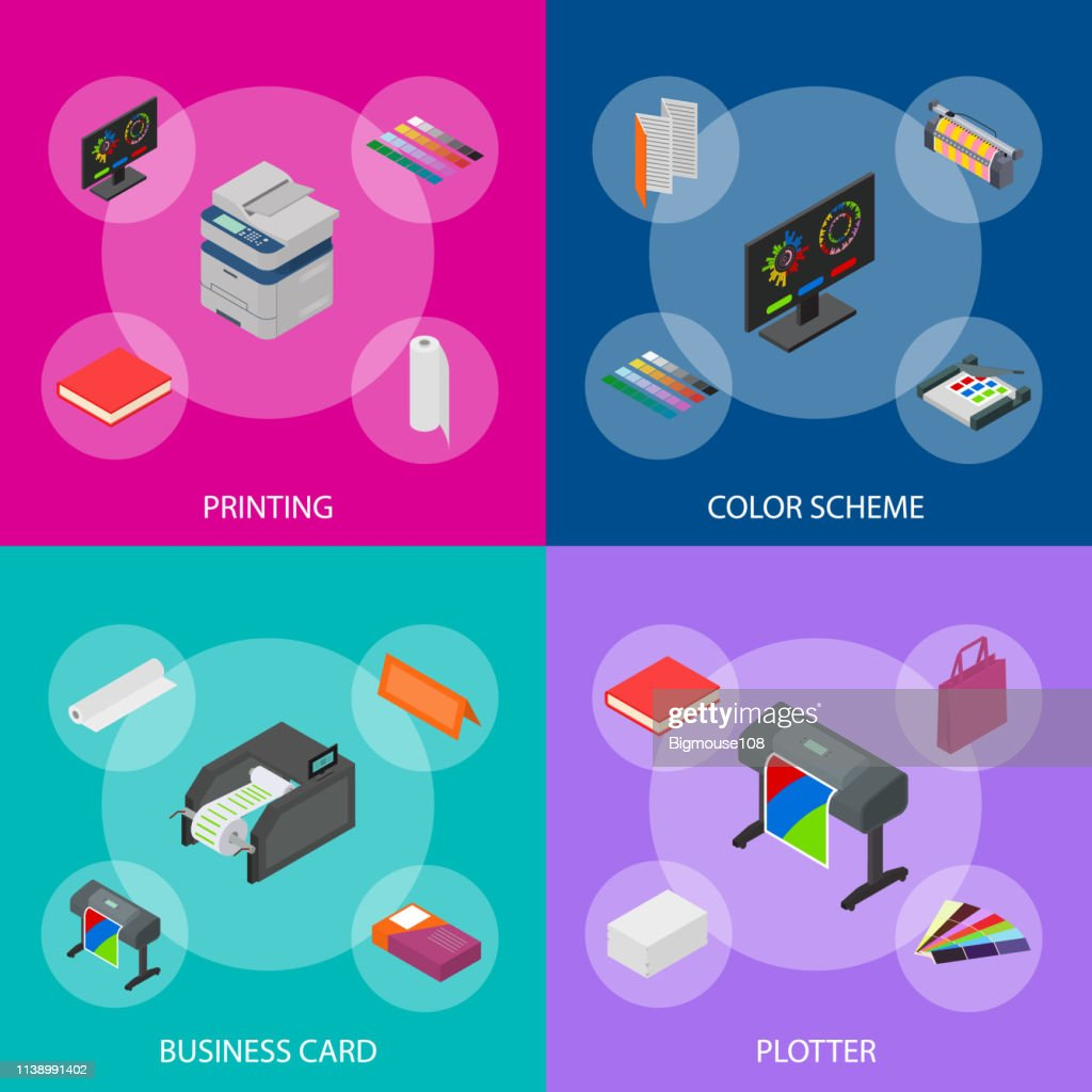 Printing Signs 3d Banner Set Isometric View. Vector