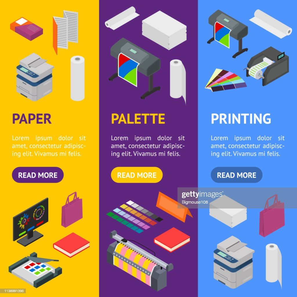 Printing Signs 3d Banner Vecrtical Set Isometric View. Vector