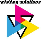 Printing solutions. CMYK color graphic mark.