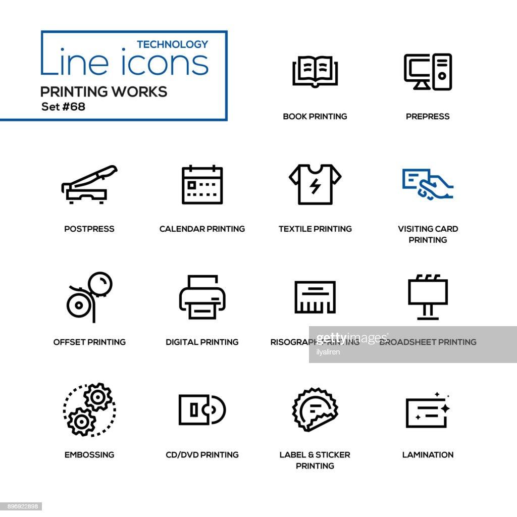Printing works - line design icons set