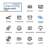 Printing works - line design icons set