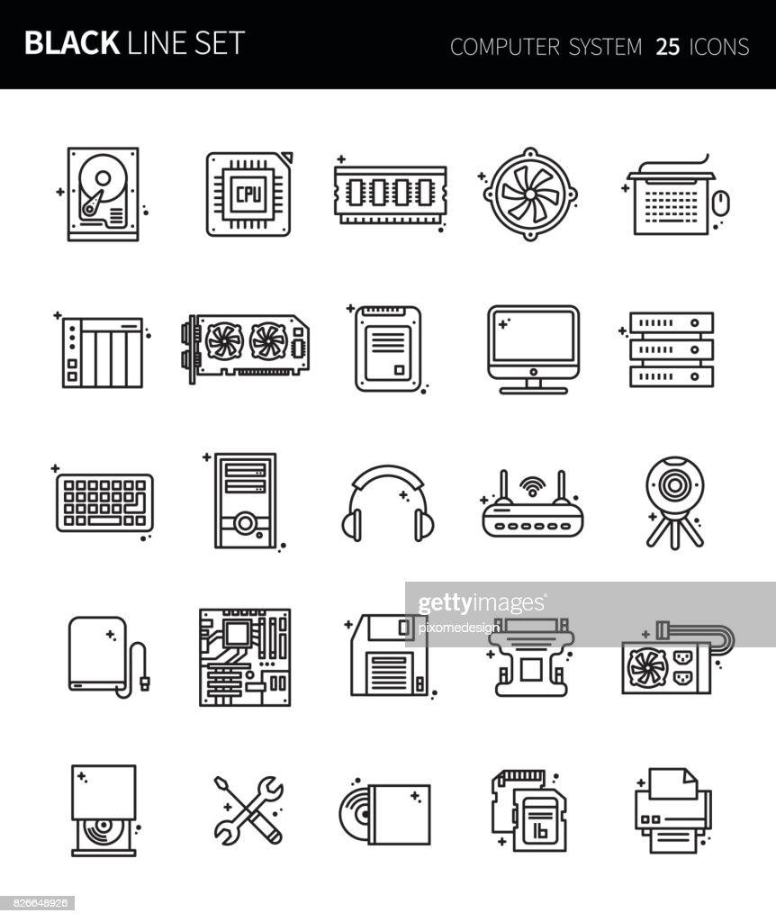 PrintModern thin black line icons set of computer system. Premium quality outline symbol set. Simple linear pictogram pack. Editable line series