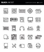 PrintModern thin black line icons set of computer system. Premium quality outline symbol set. Simple linear pictogram pack. Editable line series