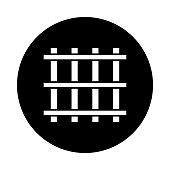 Prison bars circle icon. Black, round, minimalist icon isolated on white background.