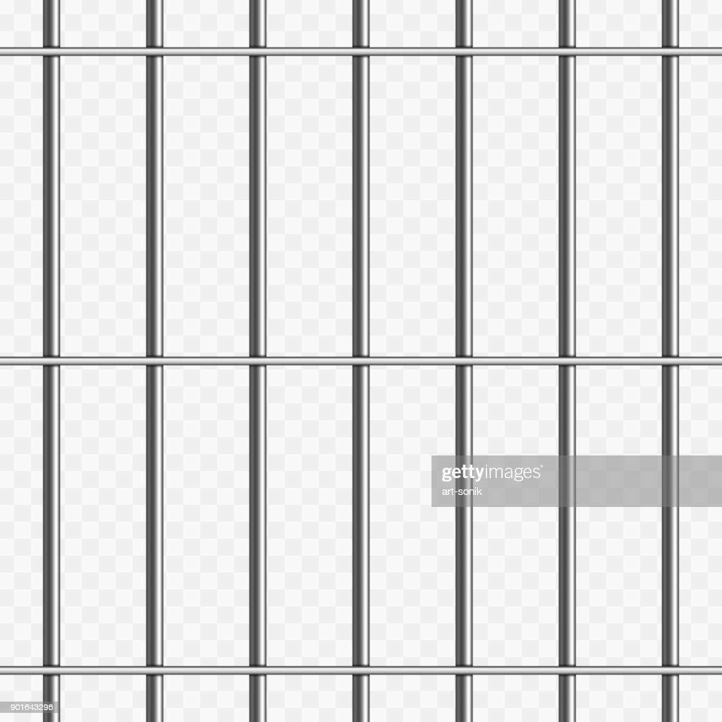 Prison bars on transparent.