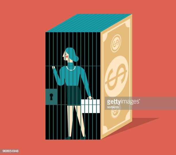 prison- businesswoman - corporate theft stock illustrations