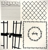 Prison Cell, Fence and Barbed Wire