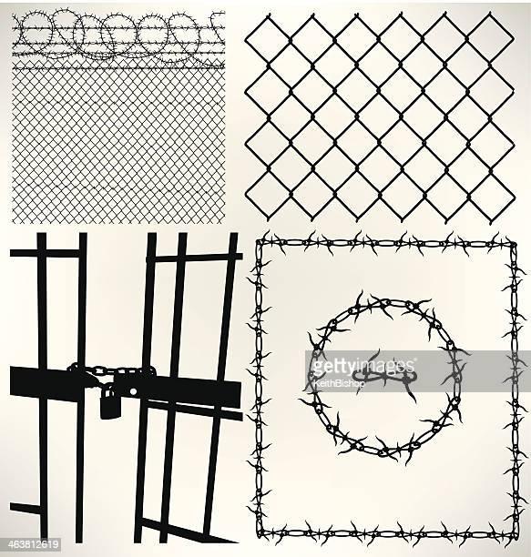 Celda de cárcel, valla y alambre de espino