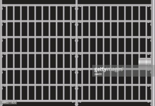 prison grid - cage stock illustrations, clip art, cartoons, & icons