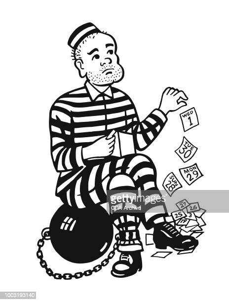 prison inmate counting the days - prisoner vector stock illustrations