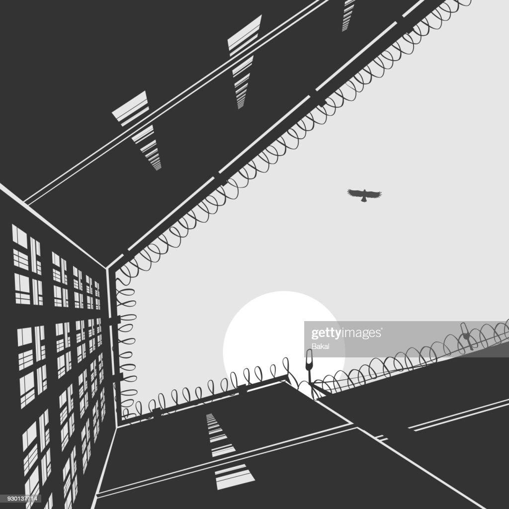 Gefängnis-Landschaft-Verwaltungsgebäude : Stock-Illustration